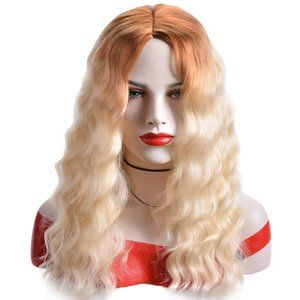 Brown Mix Blonde Long Curly Center Parted Wig